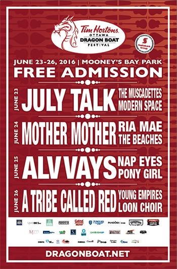 Ottawa Dragon Boat Festival - 2016 concert lineup
