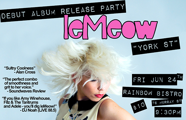 leMeow - CD release at the Rainbow - poster