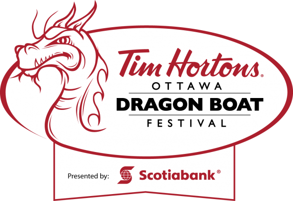 Tim Hortons Ottawa Dragon Boat Festival logo - presented by Scotiabank