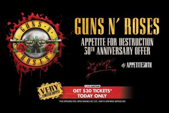 Guns N' Roses $30 ticket offer