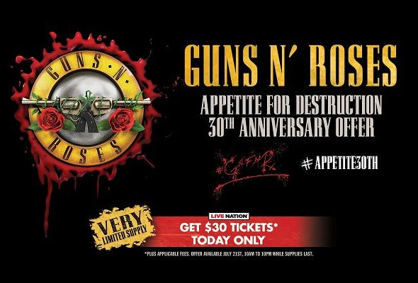 Appetite for Destruction 30th anniversary ticket offer